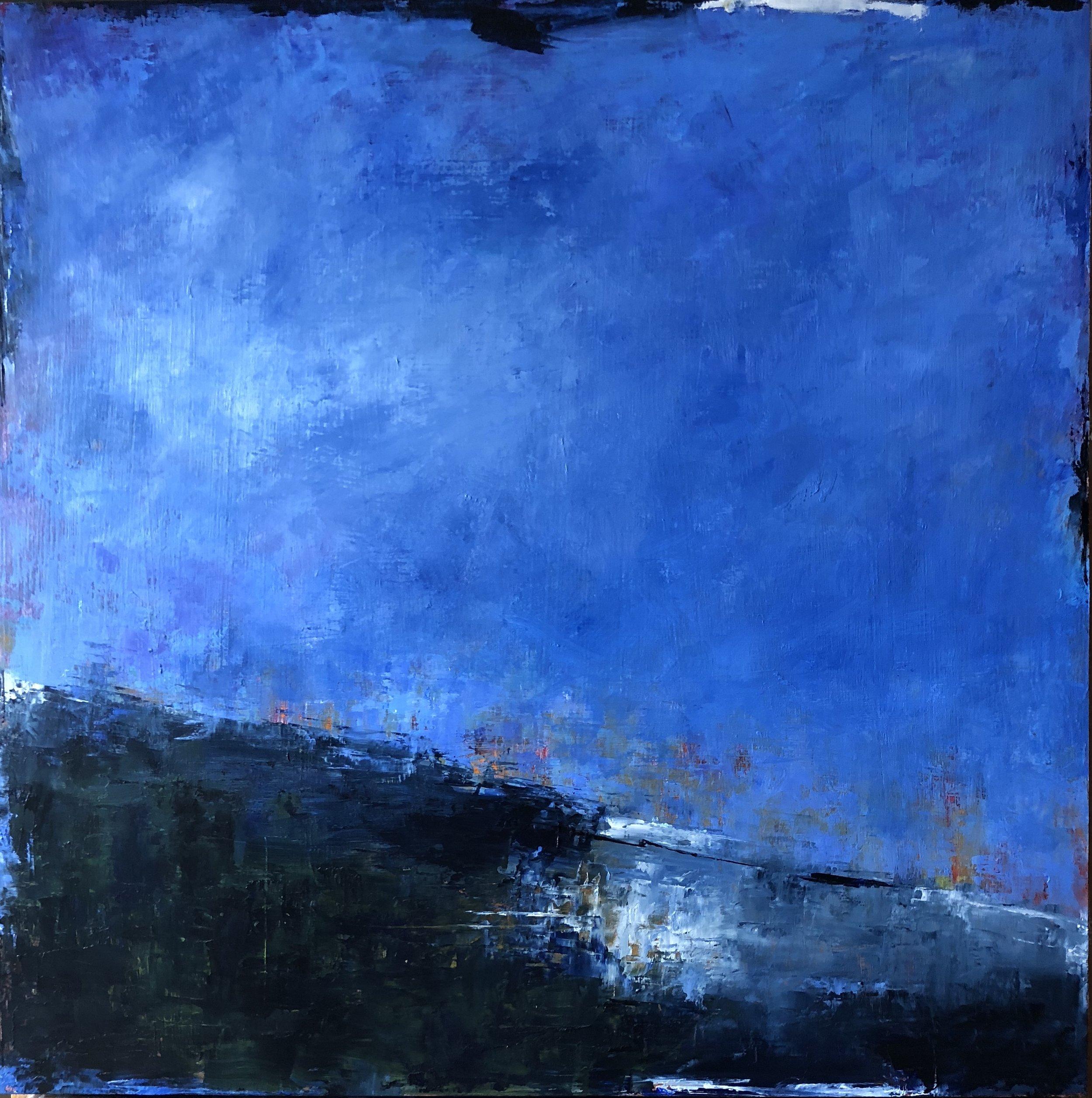 """Wild Blue Yonder, Oil on Board, 24""""x24"""""""