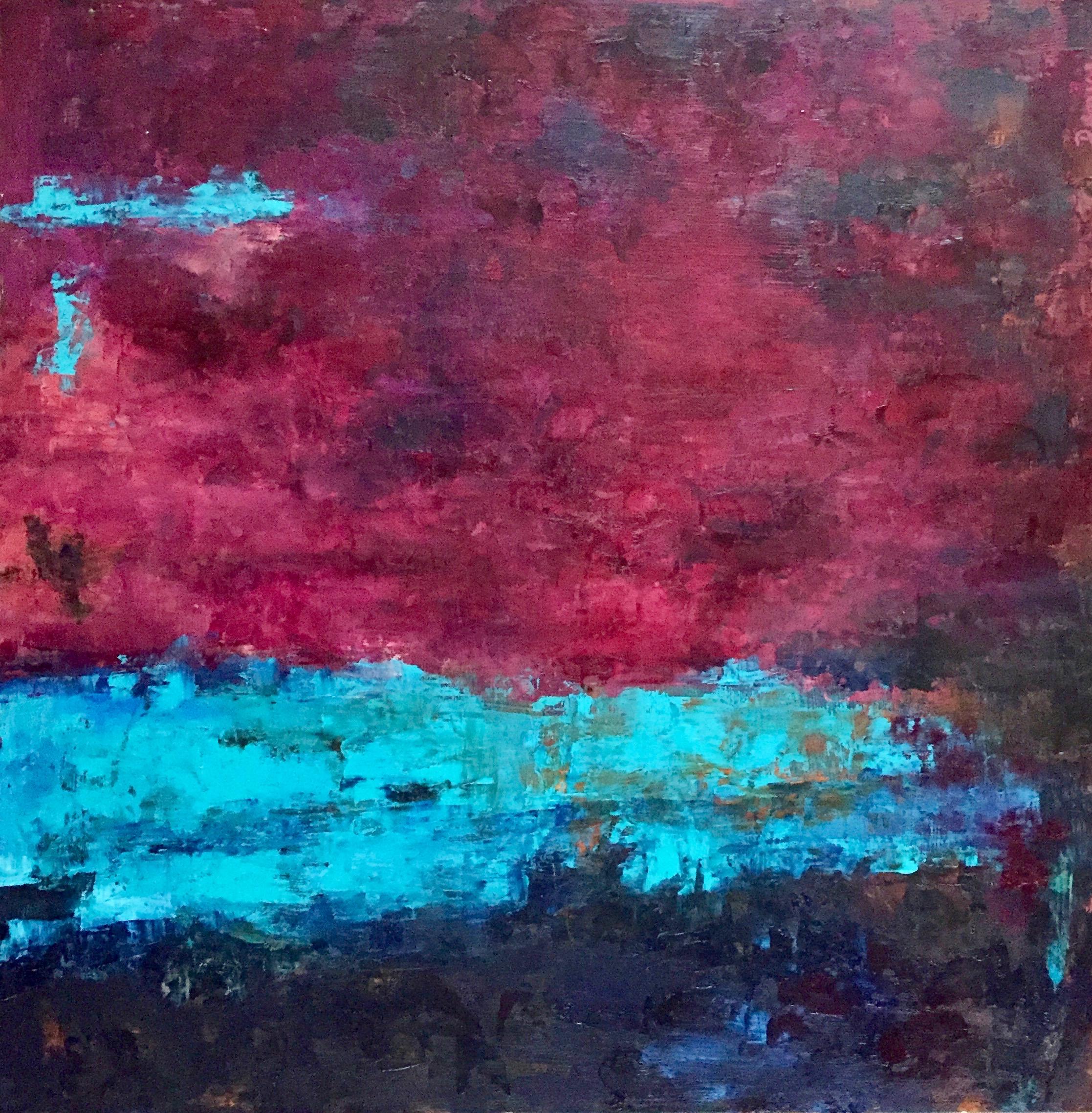 "Under The Dark Red Sky, Oil on Board, 24""x24"""