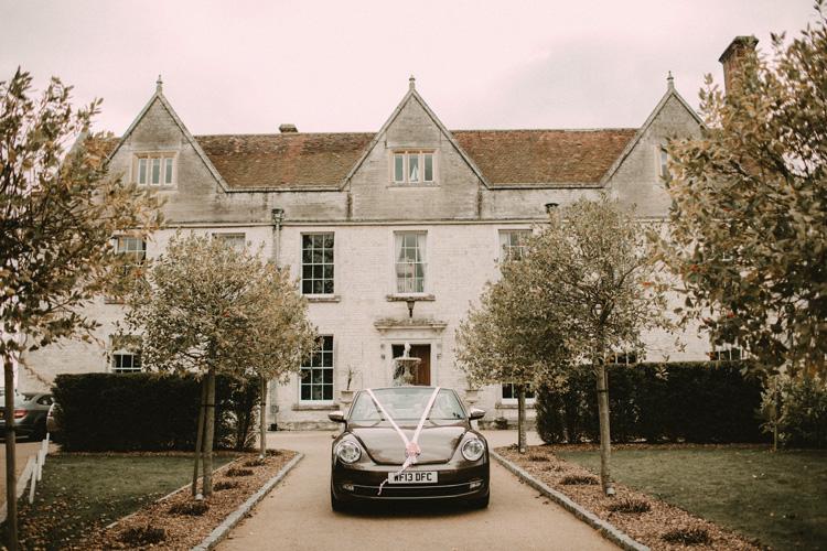 bridal car parked outside froyle park