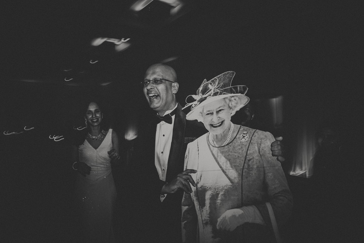 brides father dancing with queen elizabeth cut-out