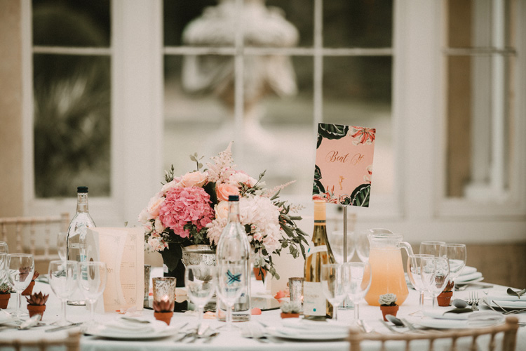 table top at syon park wedding reception