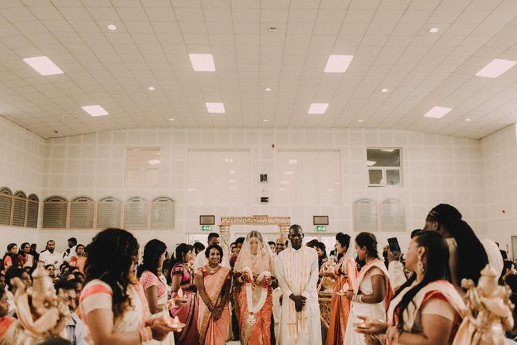 brides precessional to hindu ceremony in london wedding