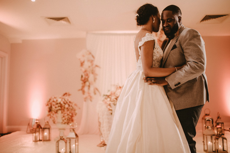 bride and groom share their first dance at froyle park