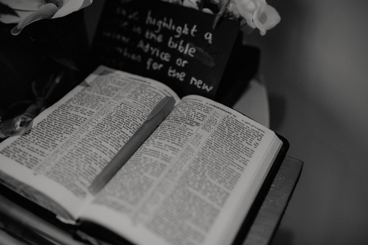 a bible left a froyle park wedding reception