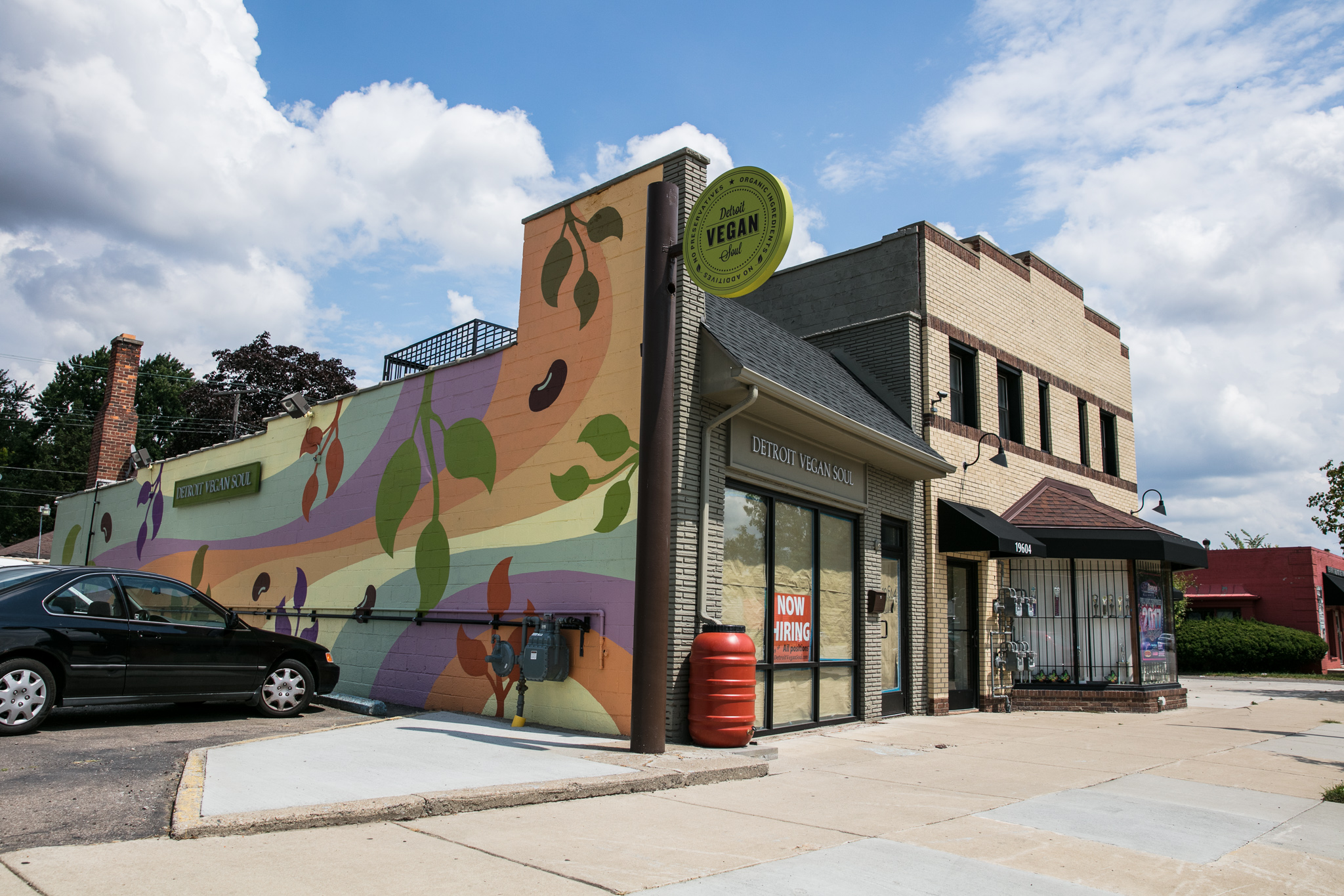 The mural at Detroit Vegan Soul incorporates earth tones and natural motifs to reflect the values of the business.