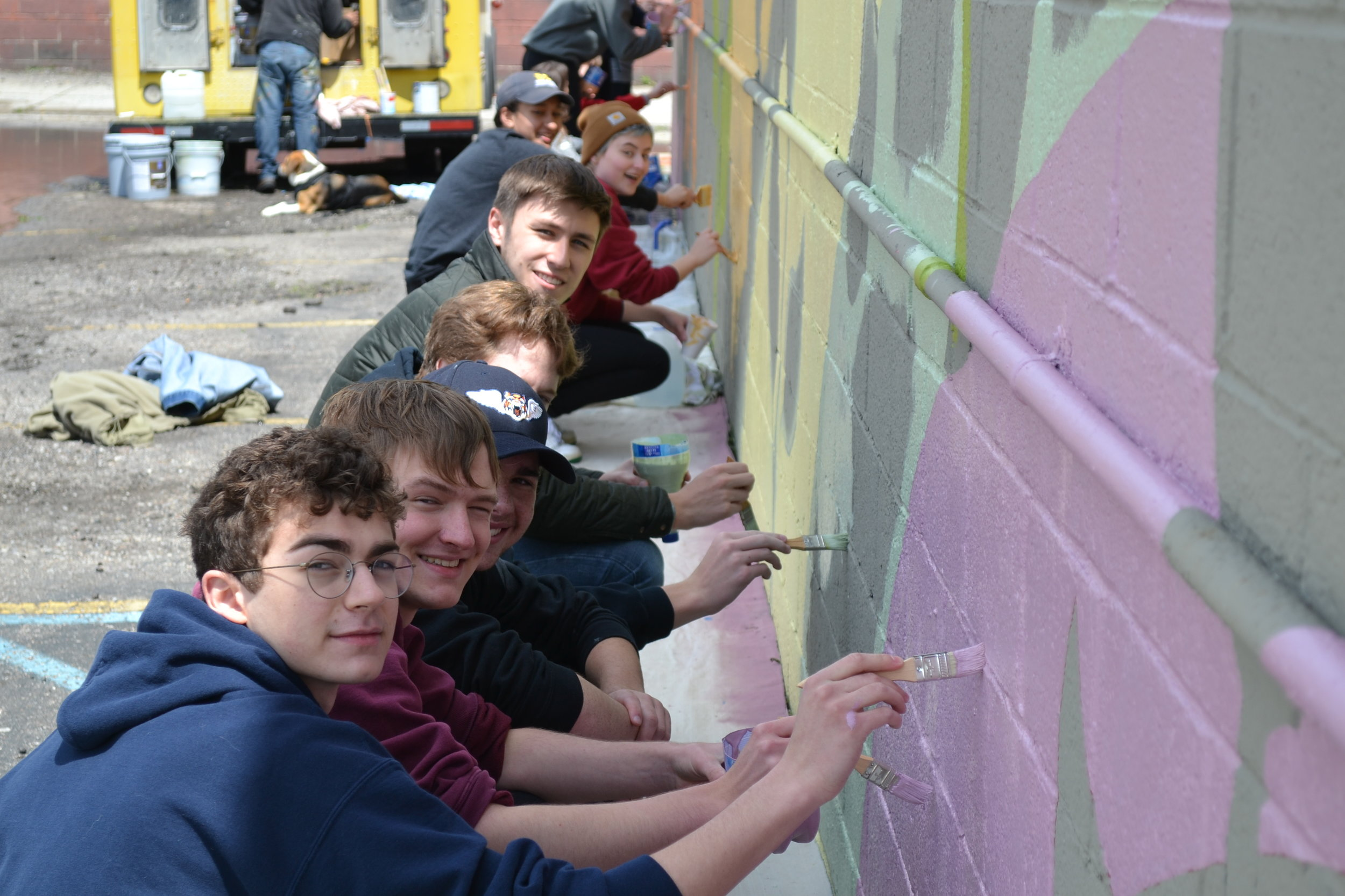 High school volunteers hard at work at Detroit Vegan Soul.