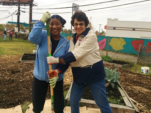 Grandmont Rosedale residents Charlotte and Carolyn volunteering in 2015.