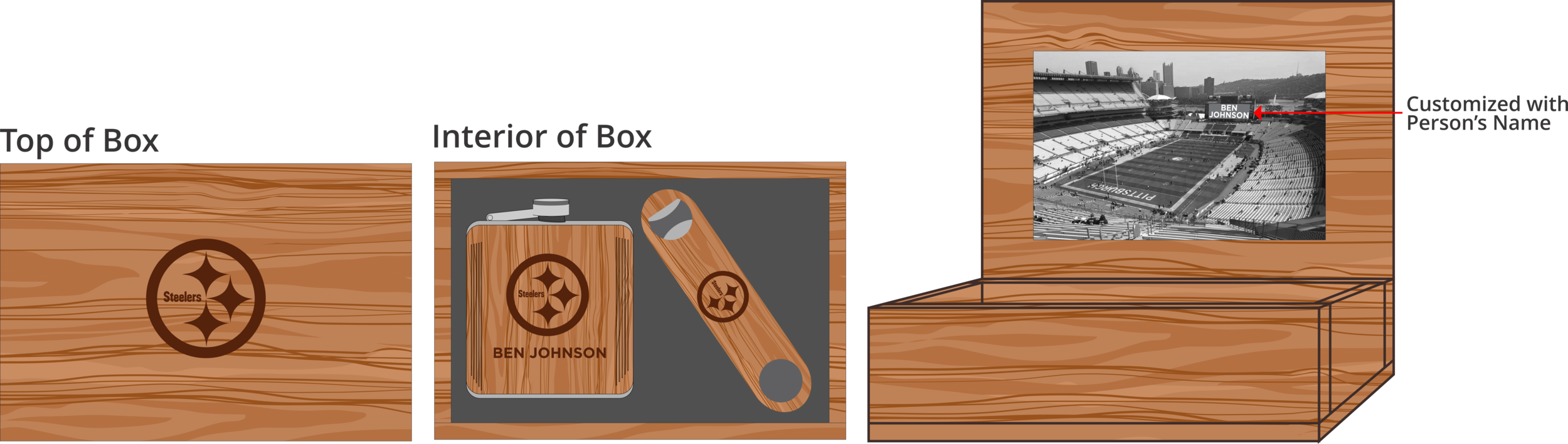 Hardwood Bottle Opener & Flask Box