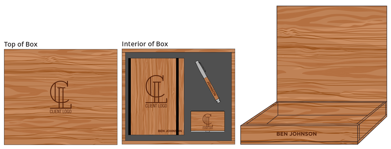 Hardwood Journal, Pen & Card Holder Box