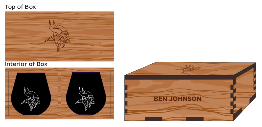 Veneer Black Wine Glass (2) Box