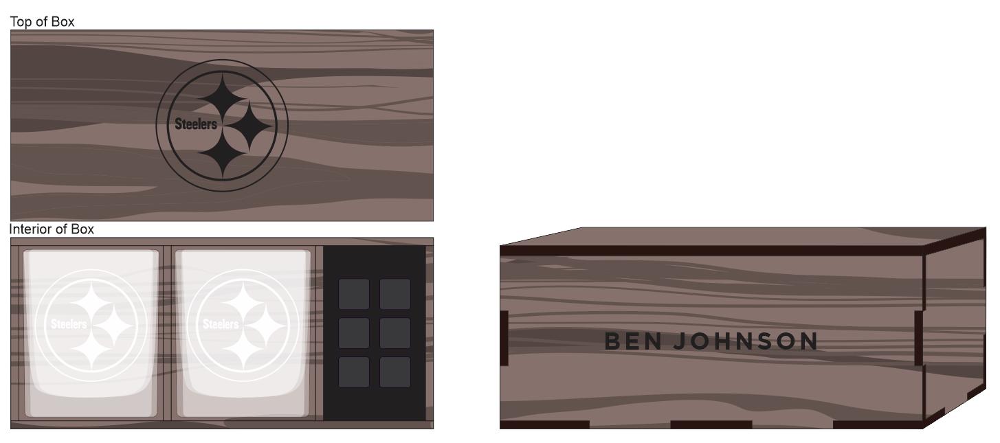 Veneer Whiskey Glass (2) & Rocks Box