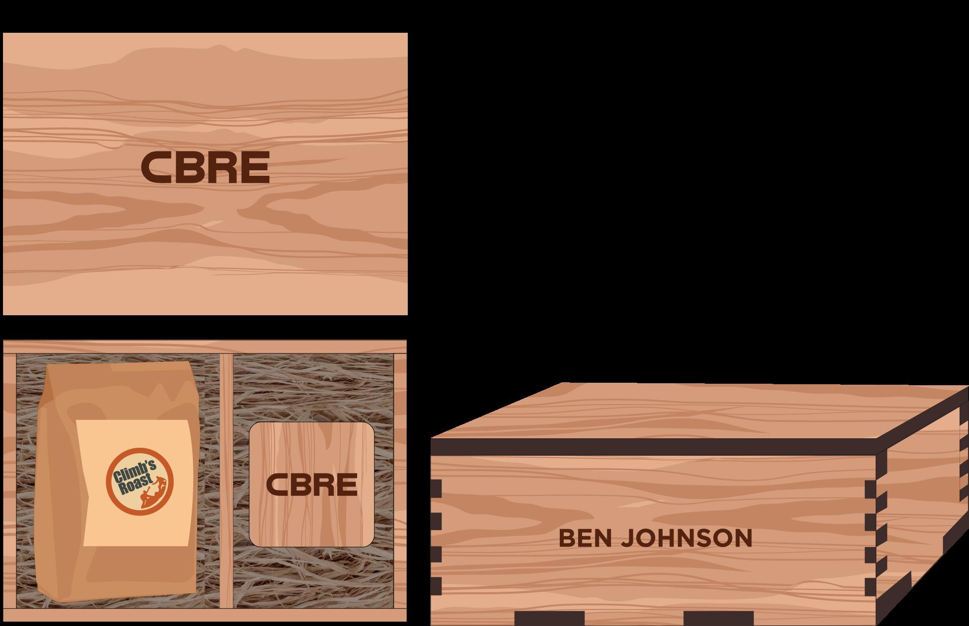 Veneer Coffee and Wooden Coasters Box: $50