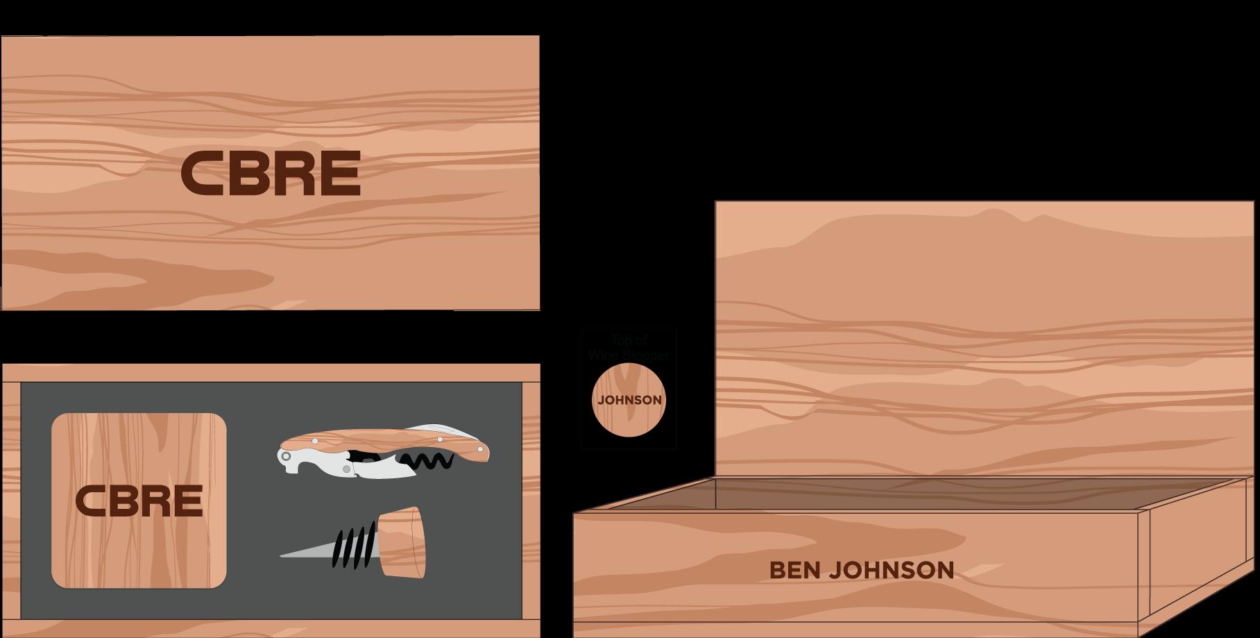 Hardwood Coasters, Wine Stopper & Wine Key Box: $160
