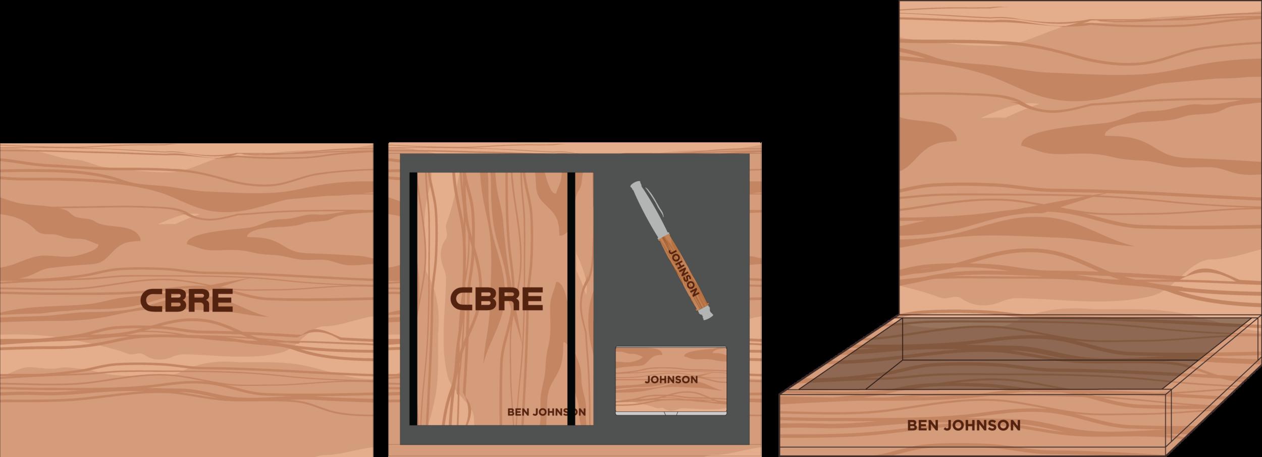 Hardwood Journal, Pen & Card Holder Box: $200