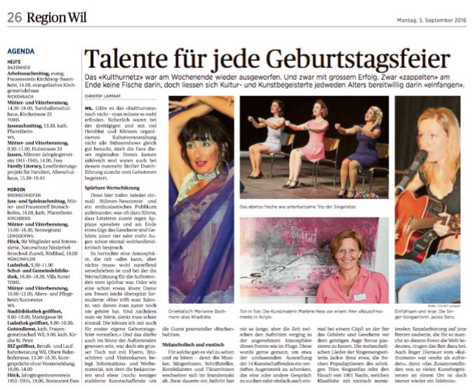 """Talente für jede Geburtstagsfeier"", Wiler Tagblatt, 5.9.2016"