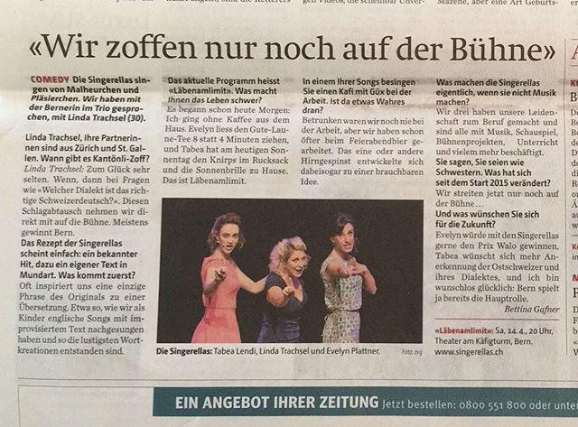 Üse Bärner Ateil, d'Linda, het ar @bernerzeitung.ch es SMS-Interview gäh! Das isch #läbenamlimit!! #bern #bernerzeitung #presse #interview #mundart #kabarett #uftritt #singerellas