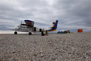 We have just landed with the Twin Otter.