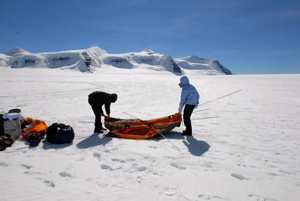 Left alone on the glacier to prepare the camp before the other's arrive on the Twin Otter.