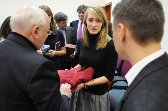 FLAAM HARDY PRESENTS FASNY (FRENCH-AMERICAN SCHOOL OF NEW YORK) OUTFIT TO PRESIDENT MIKHAIL GORBACHEV