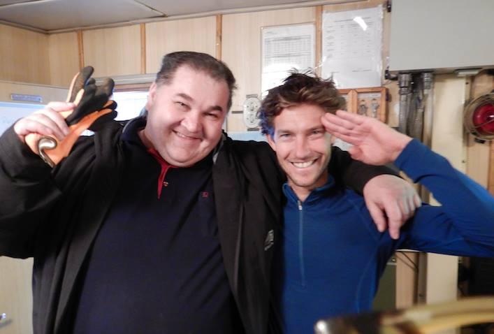 SOMOV Captain Andrey Demeshin (l.) with film director Bertrand Delapierre. En route to Henrietta and Jeannette islands.