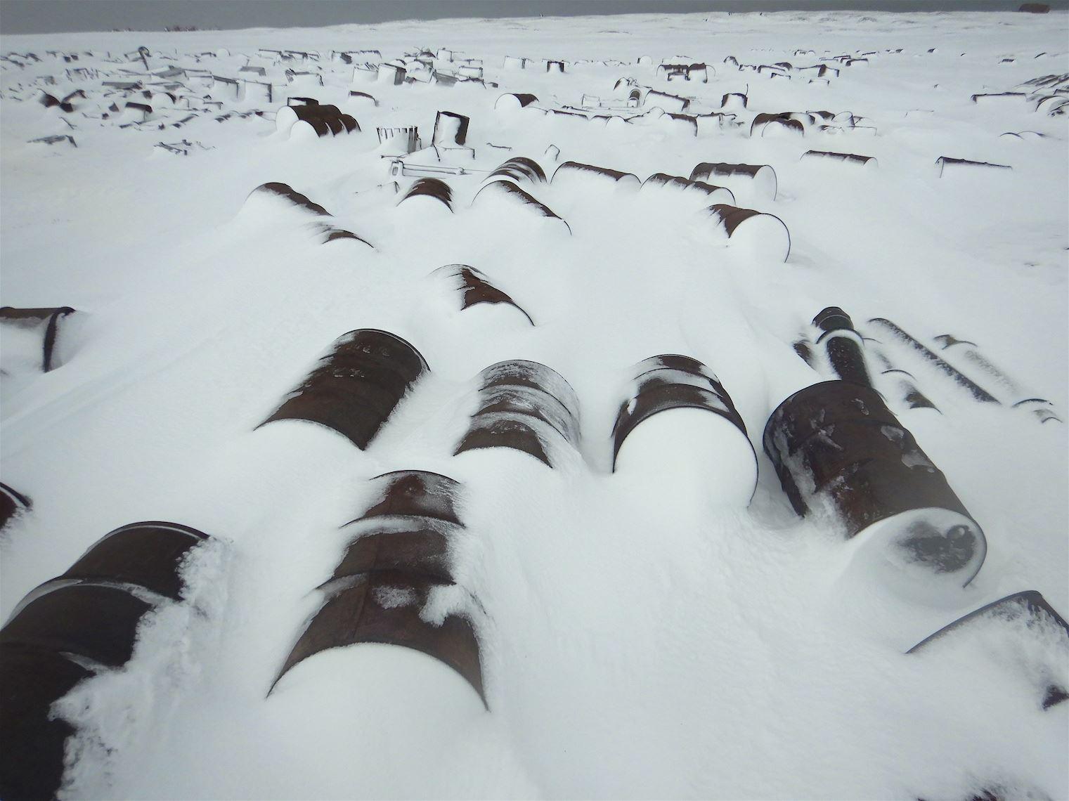 Old fuel tanks on    Zhokhov Island   , East Siberian Sea.