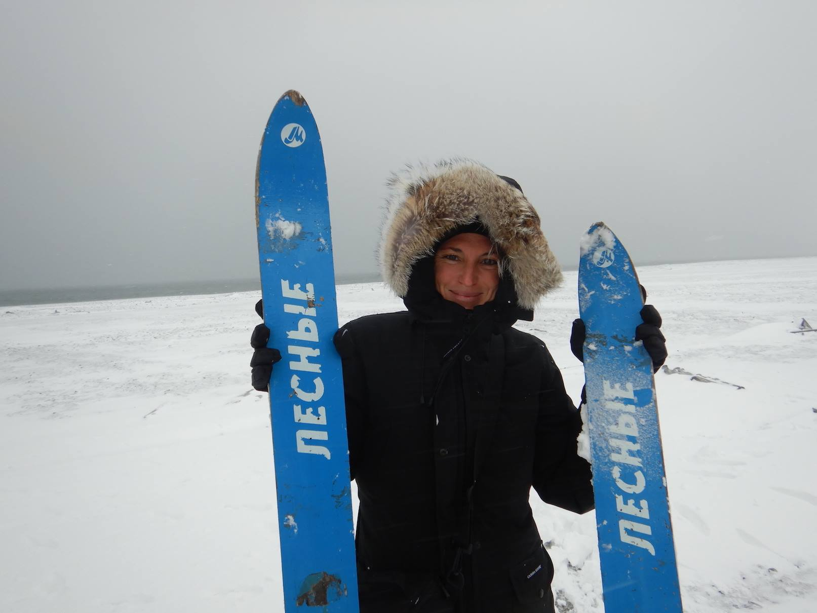 Aurore Asso   , with old skis from a Russian Arctic polar station