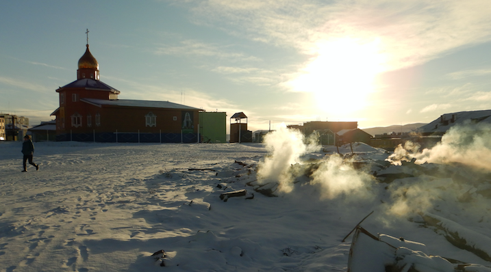 Early morning industrial junk burning in    Tiksi   ...