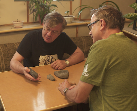Dr. Alexei Tikhonov and Dr. Eric Crubezy    examine rocks collected from the De Long Islands during our Russian Arctic expedition. They seem convinced of pre-modern times human presence there. to be further studied...