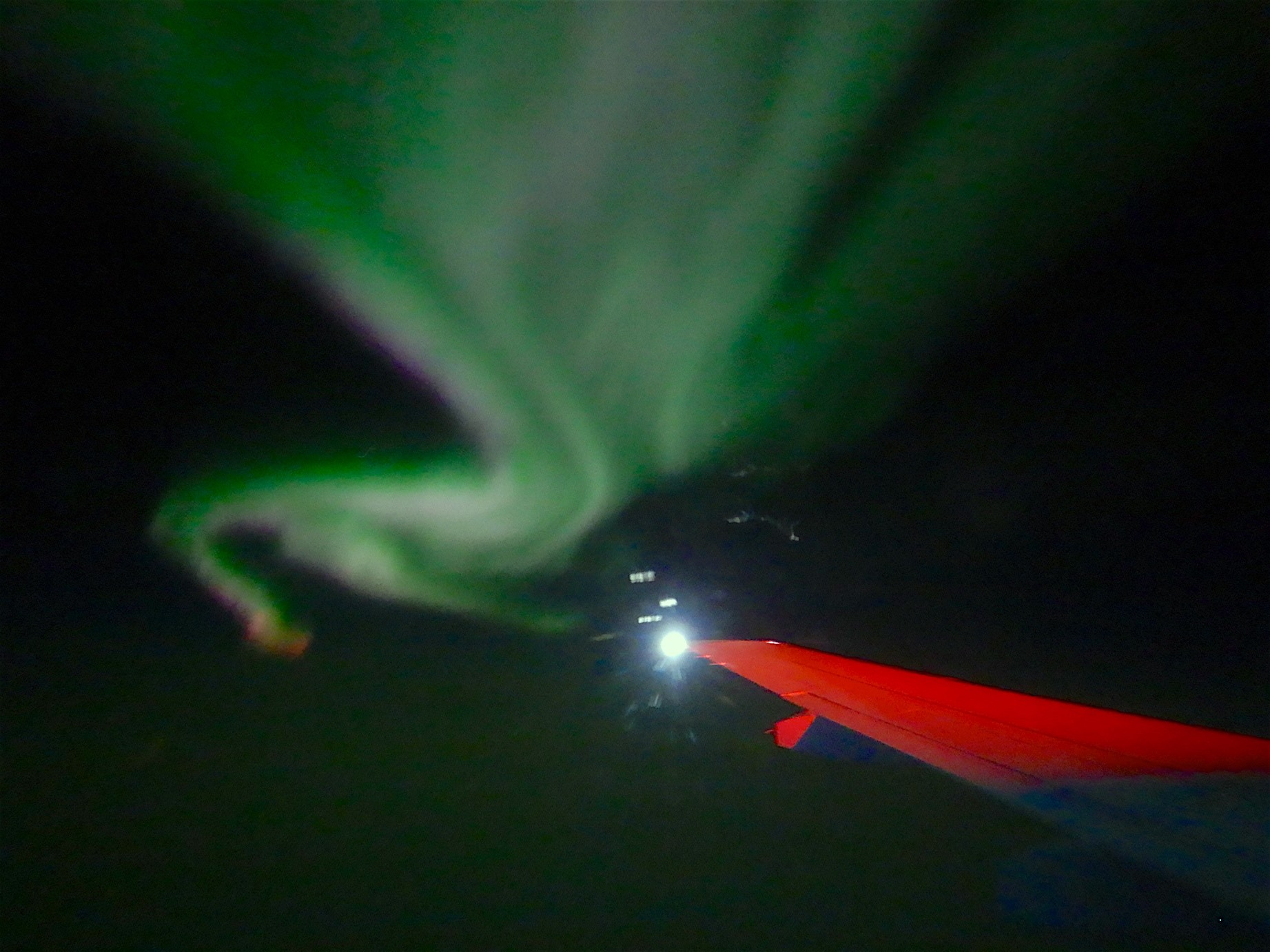 Aurora Borealis : we often saw them at night from the ship during the expedition. Here is one on our return flight from Tiksi to Yakutsk. The Aurora is an incredible light show caused by collisions between electrically charged particles released from the sun that enter the earth's atmosphere and collide with gases such as oxygen and nitrogen. By the way they can be seen in Antarctica too!