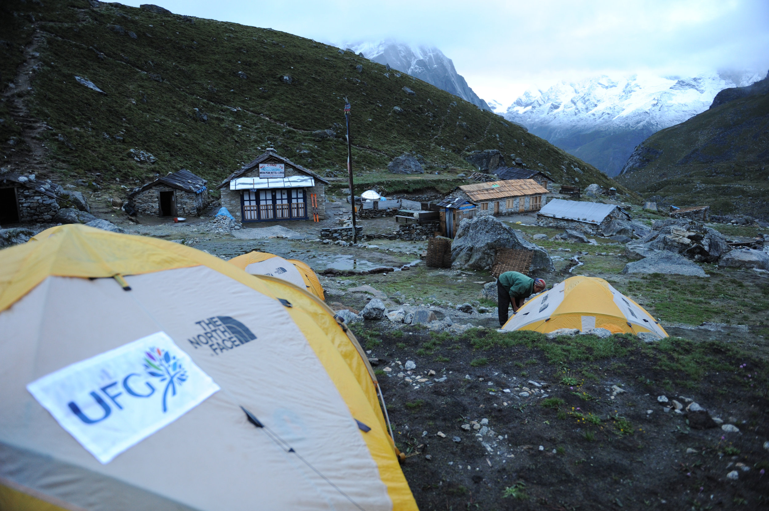 Typical camp at lower altitudes.