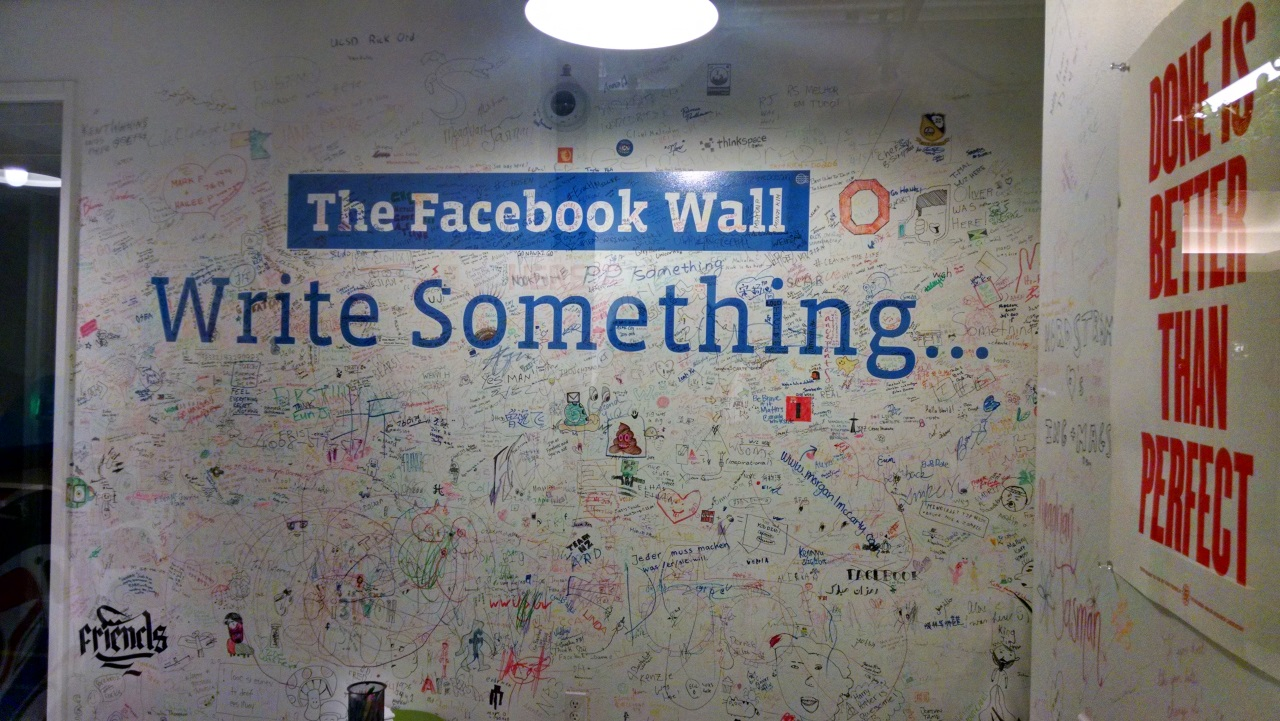 The REAL Facebook wall at the party in their office