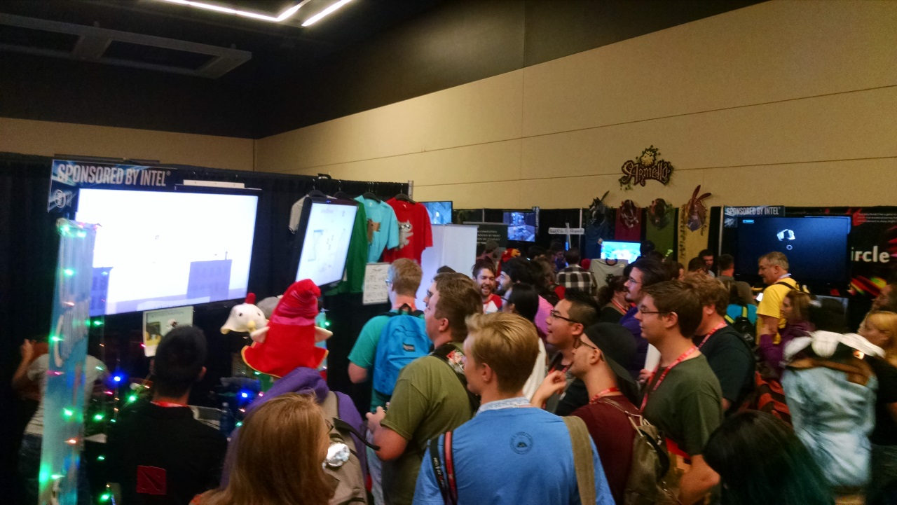 Always a crowd at our booth, it's a nice feeling