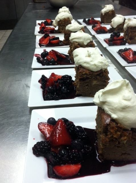 triple chocolate cakes with berry compote