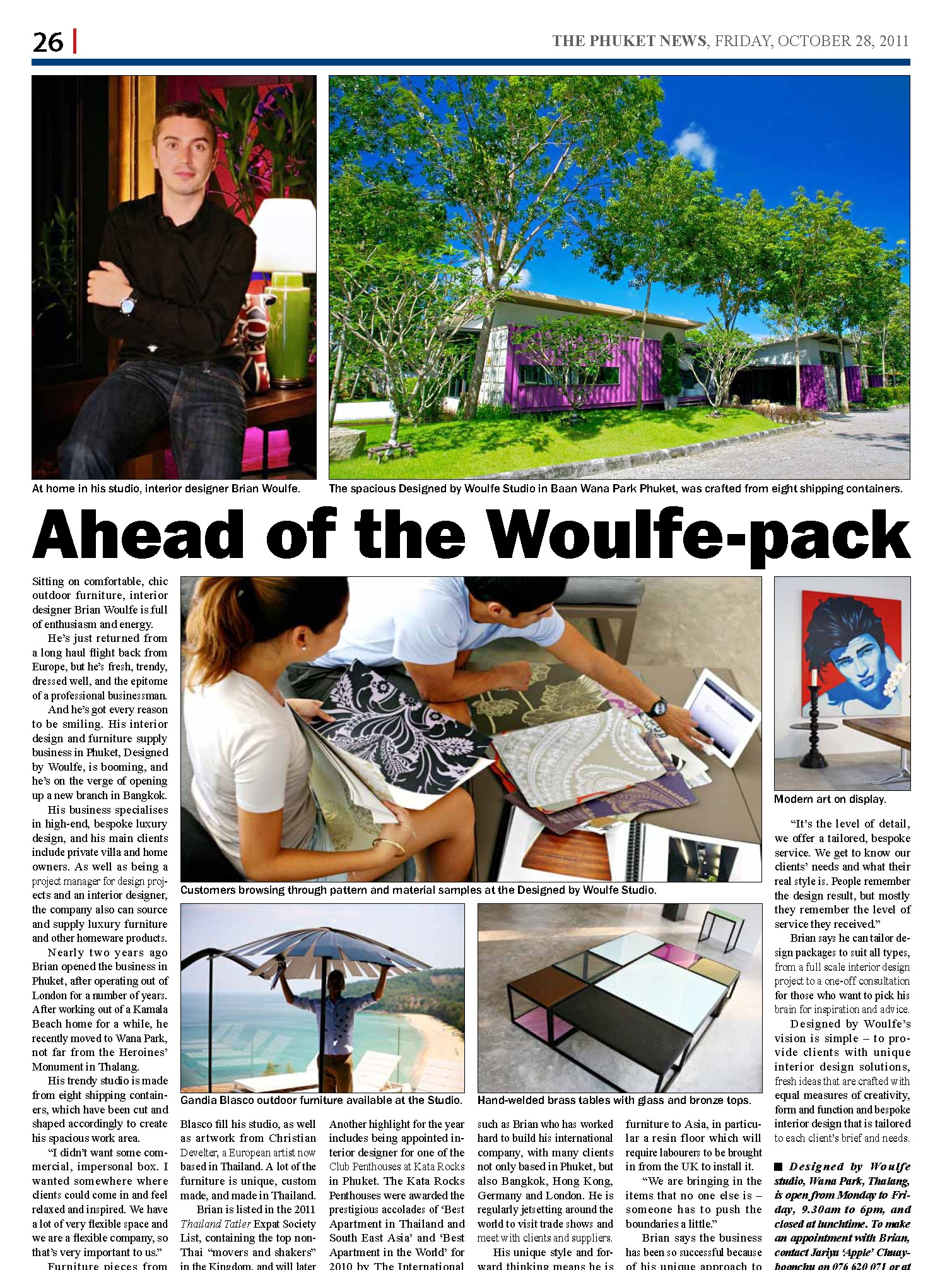 Brian Woulfe, Designed by Woulfe - The Phuket News