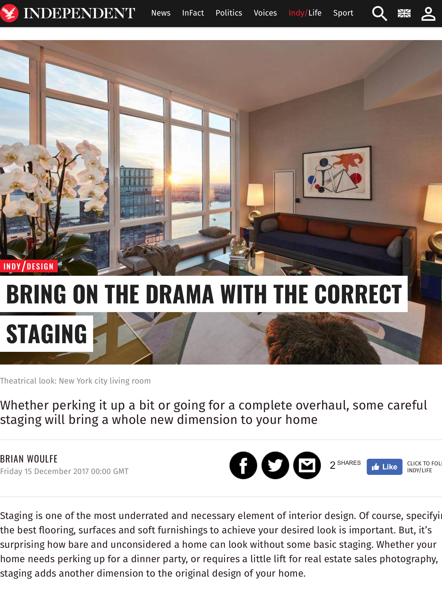 Designed by Woulfe, Bring on the drama with the correct staging. The Independent, Brian Woulfe