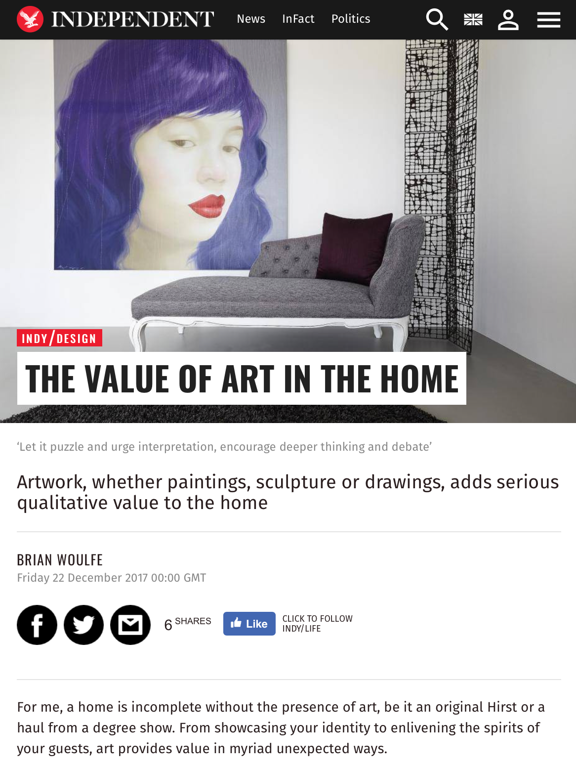 The Independent, Designed by Woulfe, Brian Woulfe, The Value of Art In The Home