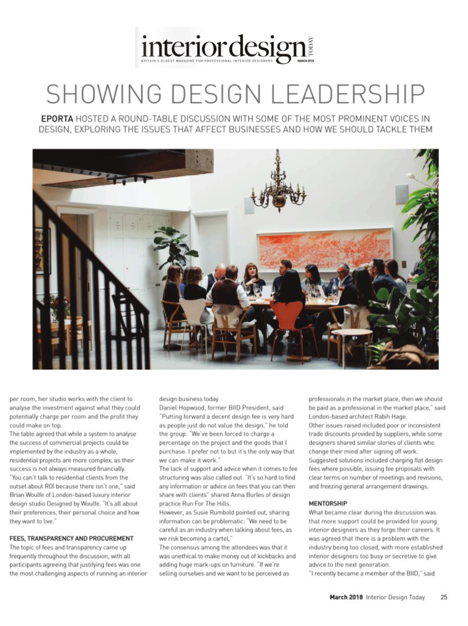 Designed by Woulfe, Interior Design Today Magazine, Eporta Showing Leadership