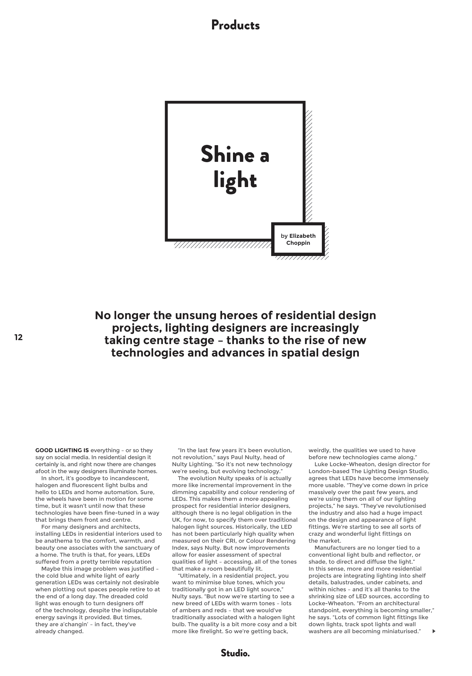 Studio. Magazine, John Cullen, Brian Woulfe, Designed by Woulfe, Lighting