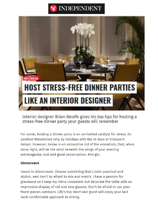 The Independent, Brian Woulfe, Designed by Woulfe , Dinner Parties