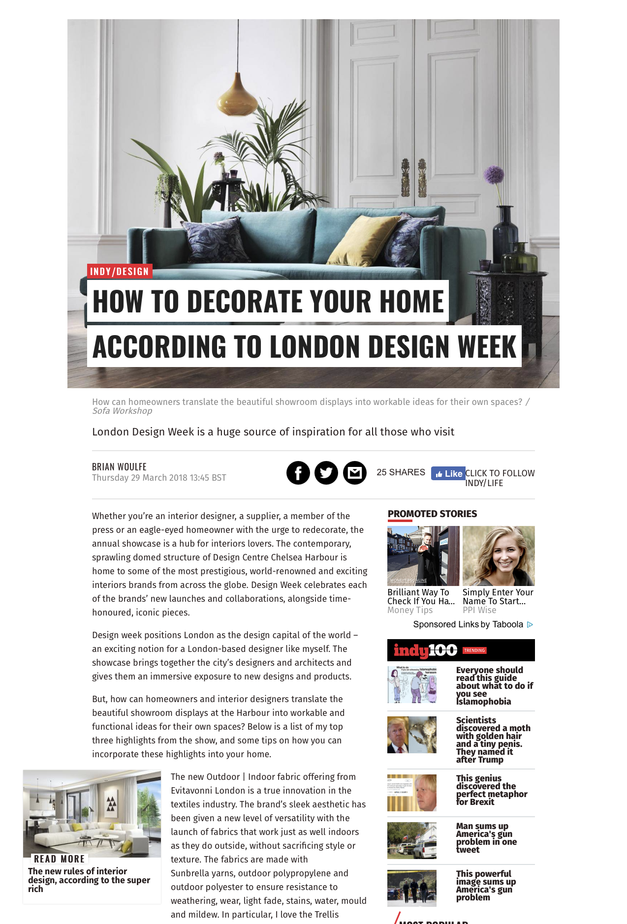 Brian Woulfe, Designed by Woulfe, The Independent