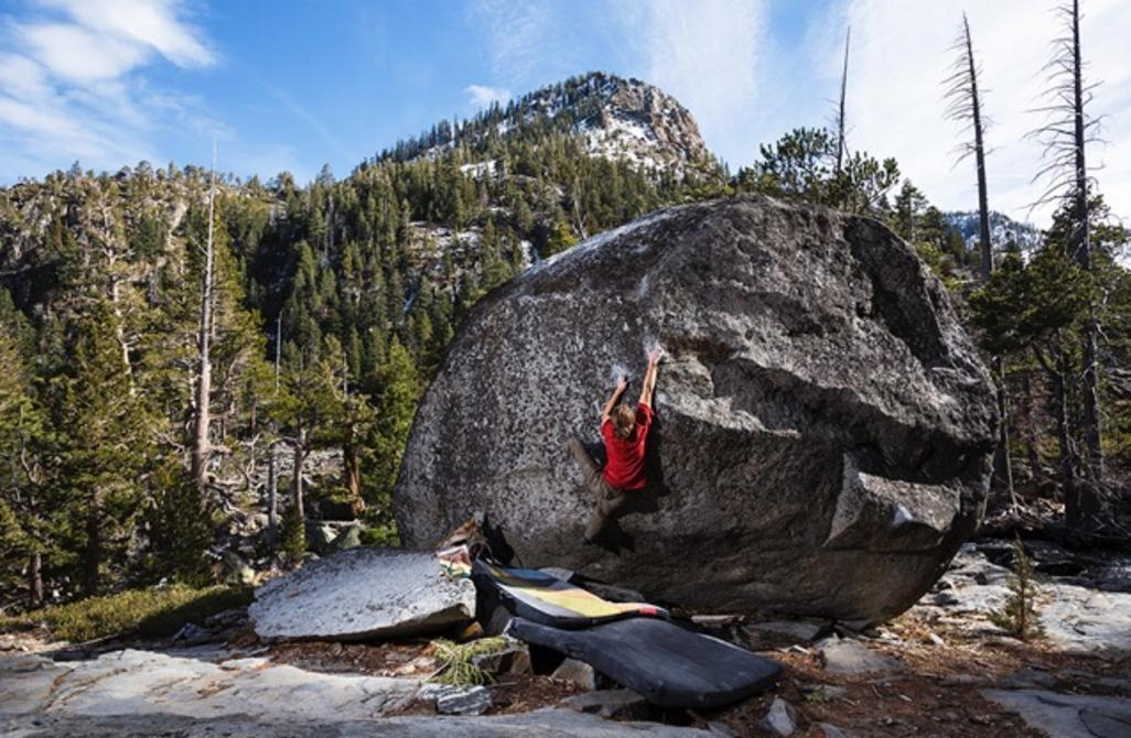 "Roman Yalowitz on the first ascent of ""La Baroude"" v8  PHOTO CRED: JON THOMPSON"