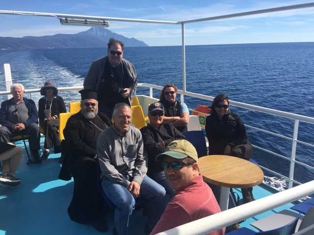On our boat cruise with Mount Athos in the background
