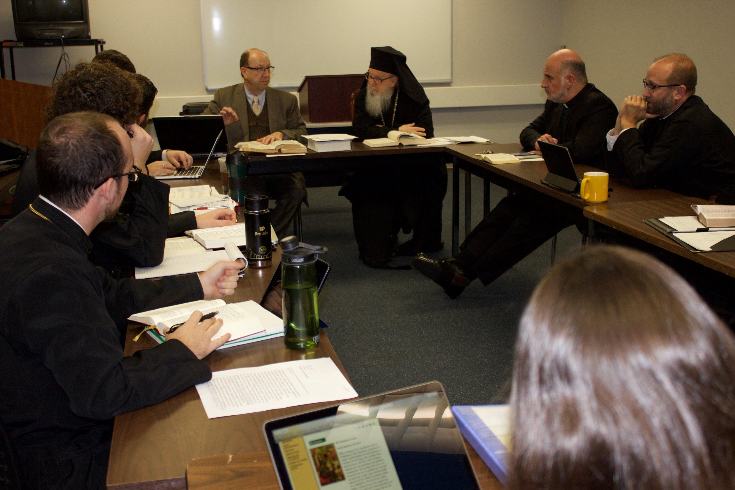 Archbishop Demetrios visits Dr. Bruce Beck's Class.jpg