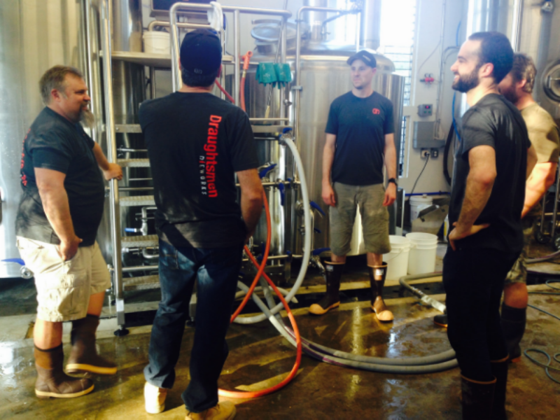 Scott, Kris, Chris and Reno waiting for the wort to come to a boil. Paul from  Premier Stainless  assisted with the first brew to troubleshoot any potential issues.