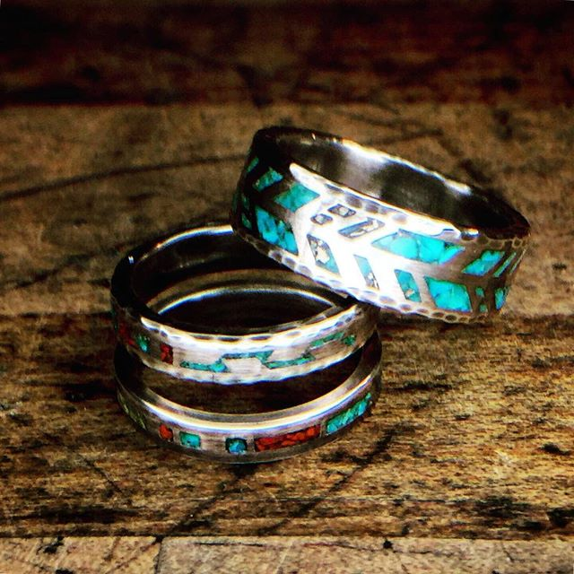 Lovely stack of turquoise rings. #wearableart #turquoiserings #epoxy330 #whatwhat