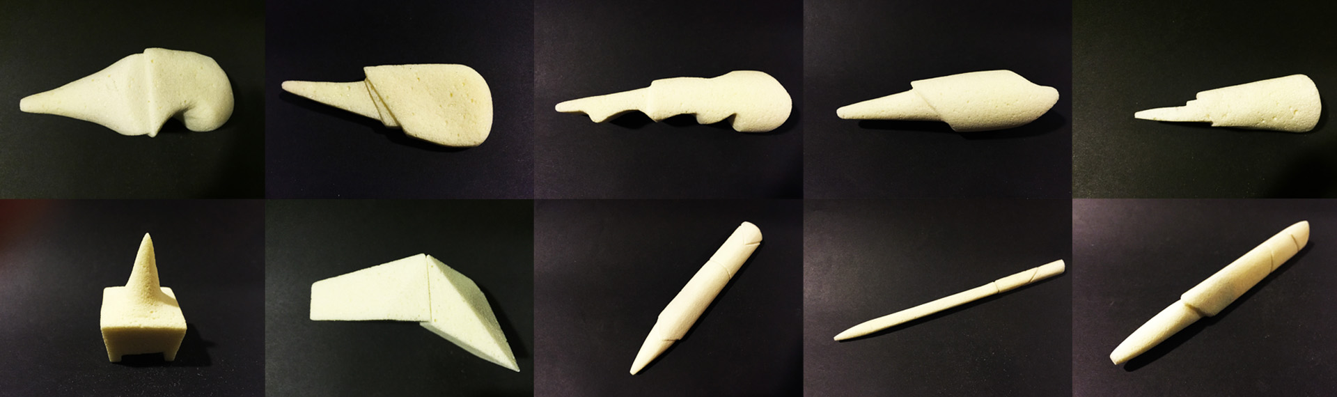 Initial foam models show form development.