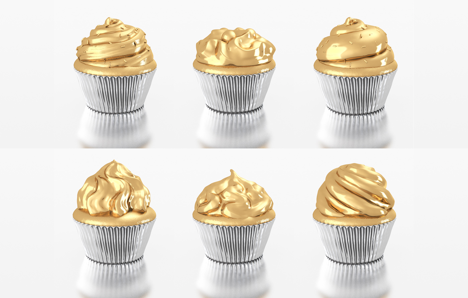 A series of cup cakes I designed. One was chosen, 3D printed and then plated in gold and nickle to be auctioned off for charity.