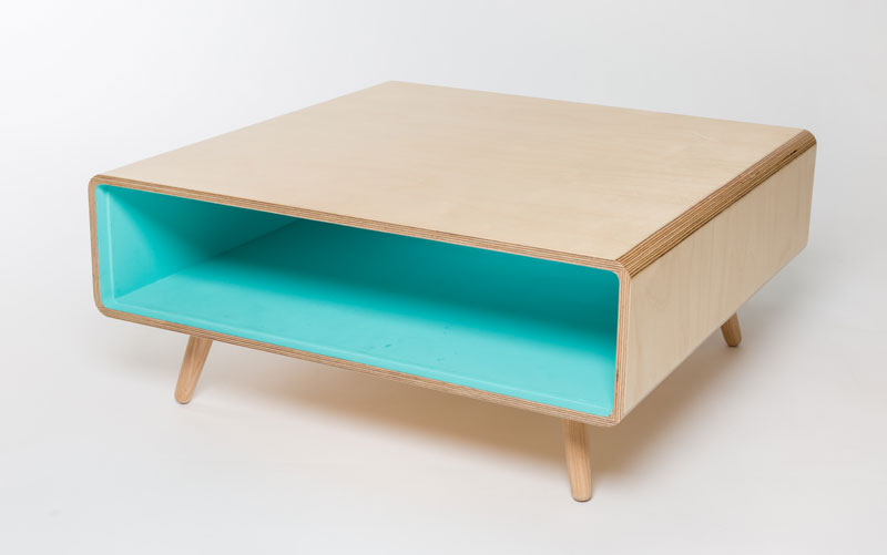 A coffee table with masses of storage room for magazines, tablets etc. Choose a colour to perfectly complement your room.  material: birch ply, ash  dimensions: 750 w 750 d 330 h  price: from £500