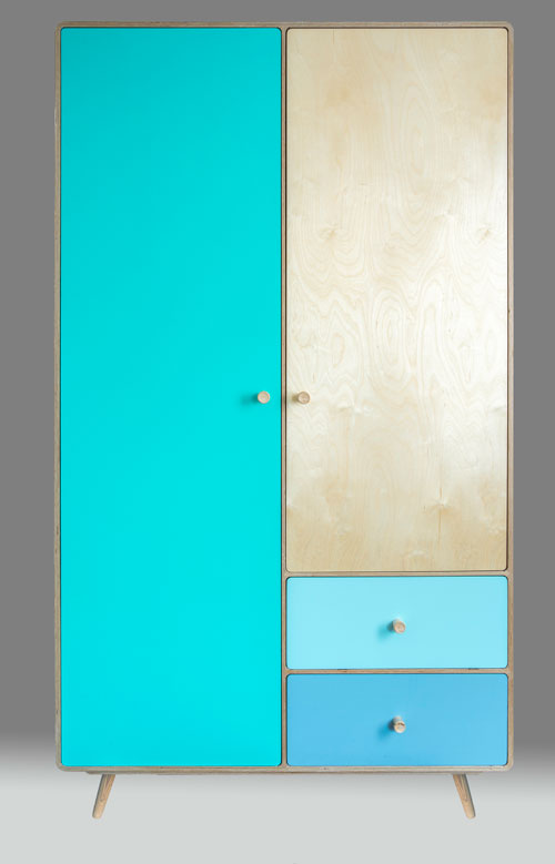 The colour scheme for this joyous wardrobe is yours to decide. You design it, we'll build it.  material: birch ply  dimensions: 1100 w  580 d   1930 h  price: from £1950