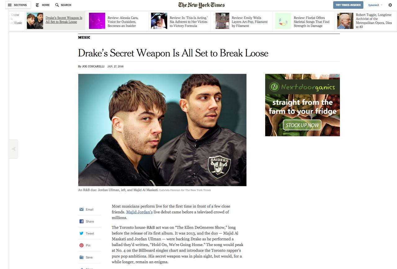 Majid Jordan shot for the New York Times